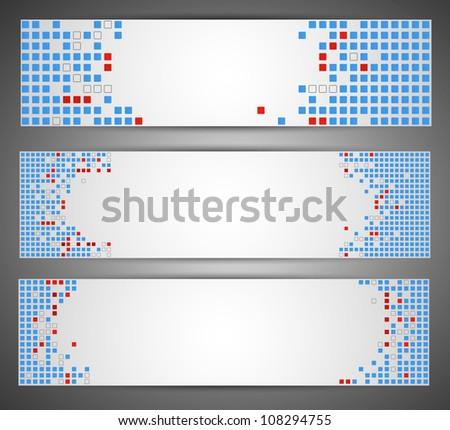 Horizontal web banners. Pixel art. Vector - stock vector
