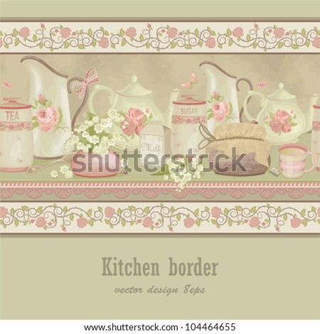 Horizontally texture seamless kitchen border with flowers, butterflies and ladybugs