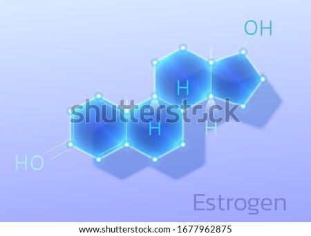 Hormone Estrogen or Estradiol, molecular formula. Vector illustration. Foto d'archivio ©