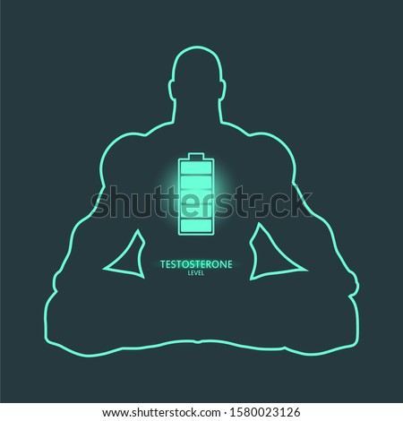 Hormone testosterone level measuring scale. Health care concept illustration. Muscular man sit in meditation pose silhouette.