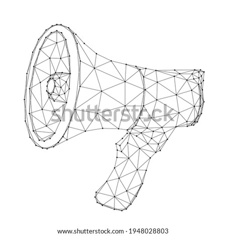 Horn, speaker, mouthpiece, electric megaphone, from abstract futuristic polygonal black lines and dots. Vector illustration. Сток-фото ©