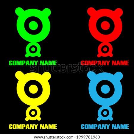 horned animal illustration symbol logo, logo design with circle elements. suitable for children's product symbols ストックフォト ©