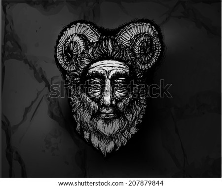 Stock Photo Horned Deity on Stone Wall