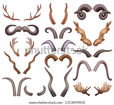 Horns set with isolated colourful horning paired images of different shape and colour on blank background vector illustration Foto stock ©