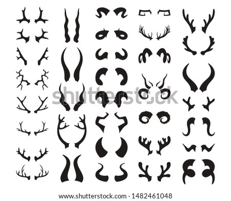 Horns silhouette Big set. Bull and deer antlers, ram and goat, bison and moose, buffalo and antelope. Magic anreal horns collection. Vector illustration Foto stock ©