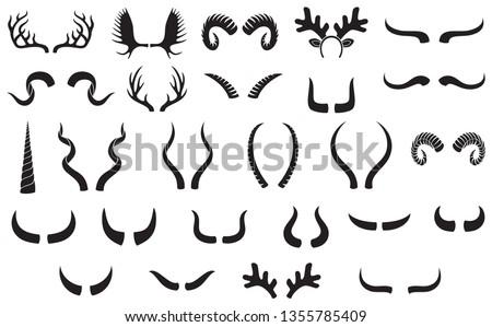 Horns silhouettes set (funny Christmas reindeer, bull, deer antlers, unicorn, ram, goat, bison, moose, buffalo, antelope, impala, hunting trophies)