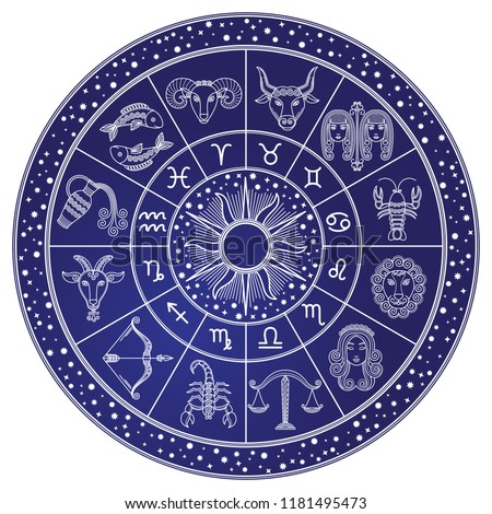 Horoscope and astrology circle zodiac with twelve signs vector. Start and images of leo, scorpion and virgo, libra and cancer. Aquarius and gemini