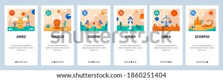 Horoscope signs vector set. Mobile app user interface with colorful icons. Zodiac symbols, aries, taurus, gemini, virgo, libra, scorpio. Astrology and horoscope calendar symbols