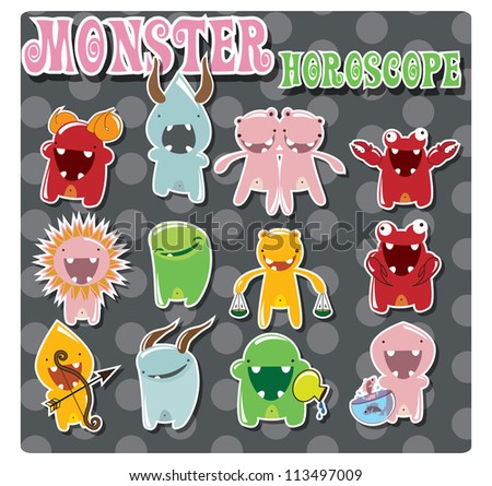 Horoscope signs with cute colorful monsters, vector