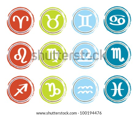 horoscope zodiac signs, set of icons, vector illustration