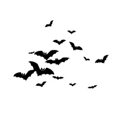 Horrific black bats swarm isolated on white vector Halloween background. Flying fox night creatures illustration. Silhouettes of flying bats traditional Halloween symbols on white.