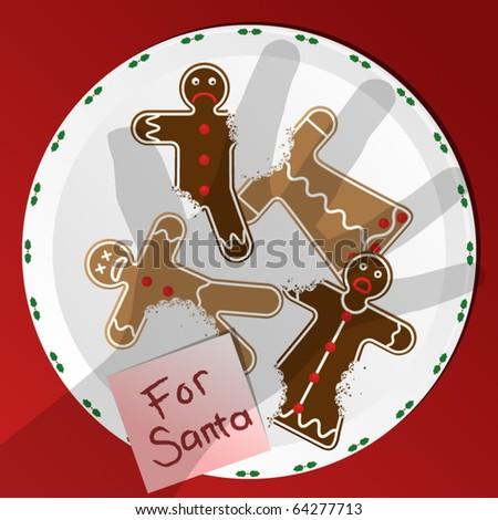 Horrified gingerbread men left out for Santa Claus