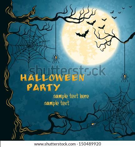 horror card for halloween blue