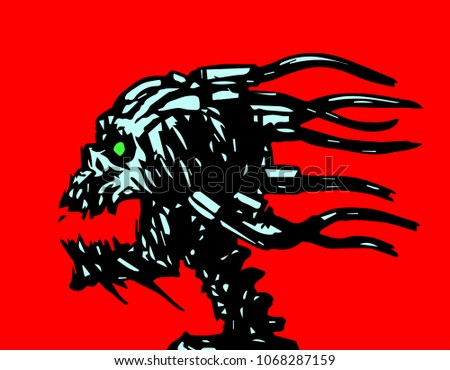 horror demonic skull with wires