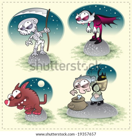 Horror Family with Background. Funny cartoon and vector characters