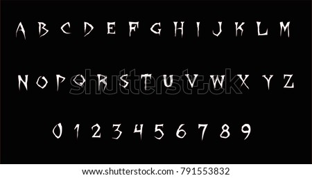 Horror font - Stylized vector  alphabet and numbers