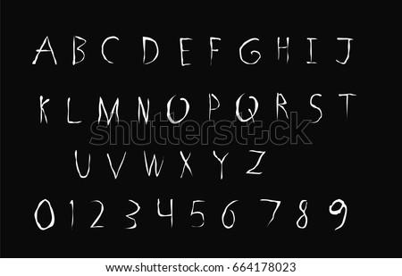 Horror Font - Vector art - White Horror Font Isolated on Black