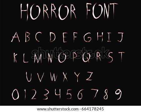 Horror Font - Vector art - White Horror Font with Red Outline Isolated on Black