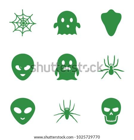 horror icons set of 9 editable