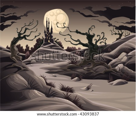Horror landscape. Cartoon and vector illustration.