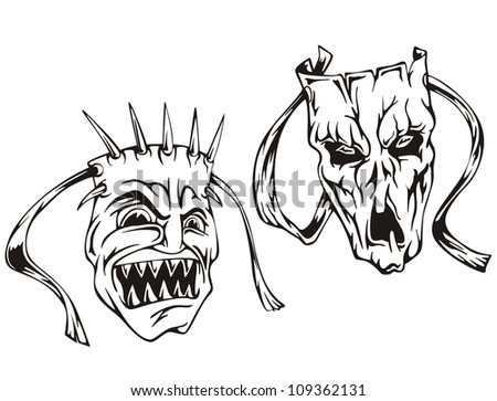 Mask Black And White Drawing Set of Black And White Vector