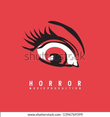Horror movie production business logo design concept. Eye symbol drawing on red background. Vector illustration. Foto d'archivio ©