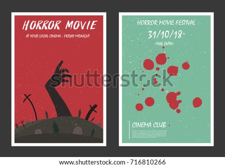 Horror movie retro posters set. Blood and zombie. Vintage cinema promotional printing collection. Can be used for ad, banner, web design. Layout template in A4 size.