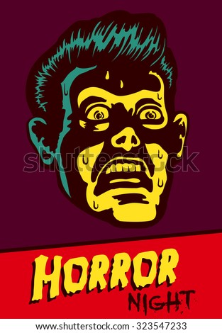 Horror Night! Halloween party or movie night event flyer vector design with terrified vintage man face afraid of something creepy, distracted with fear