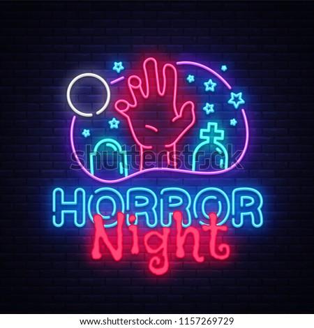 Horror Night neon sign vector. Halloween Poster Design template neon sign, Horror light banner, neon signboard, nightly bright advertising, light inscription. Vector Illustration