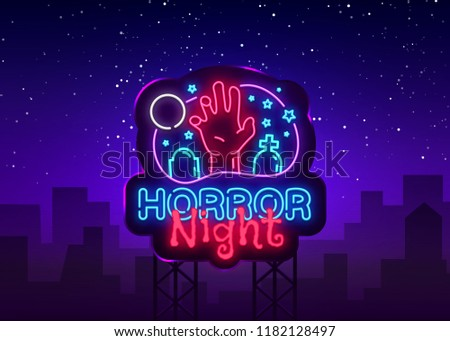 Horror Night neon sign vector. Halloween Poster Design template neon sign, Horror light banner, neon signboard, nightly bright advertising, light inscription. Vector Illustration. Billboard
