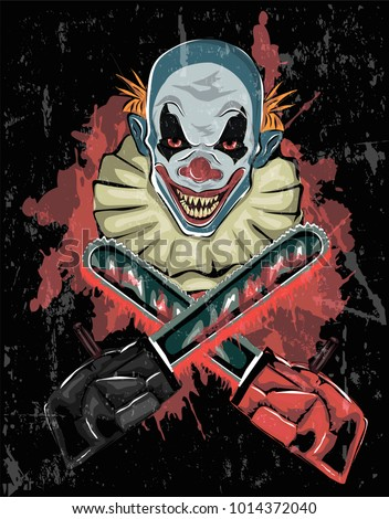 Horror poster with Scary clown and crossed chainsaw on black