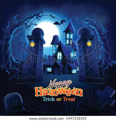 horror scene cartoon for halloween