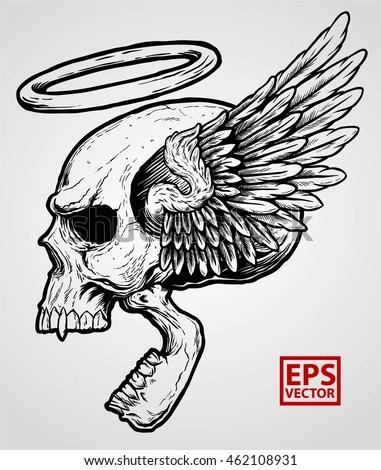horror winged head skull