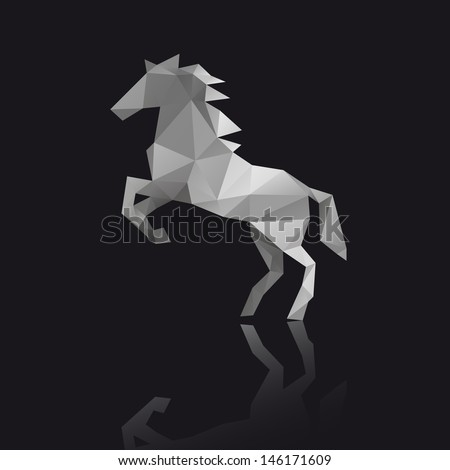 Horse abstract isolated on a black backgrounds - stock vector