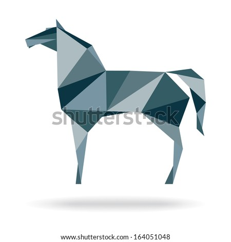 Horse abstract polygon vector. Paper horse origami.
