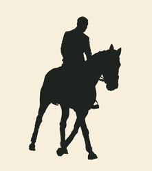 Horse and rider silhouette. Vector illustration.