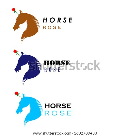horse and rose horn vector