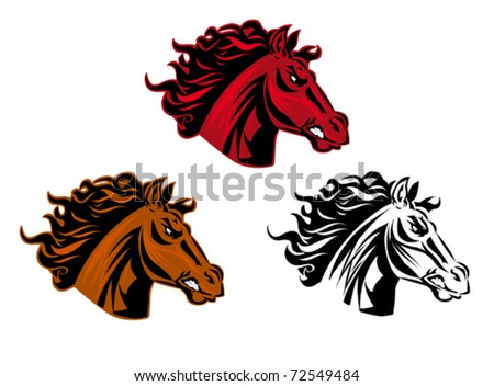 Horse cartoon tattoo for design isolated on white. Jpeg version also available in gallery