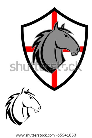 Horse cartoon tattoos symbol for design isolated on white - also as emblem. Jpeg version also available in gallery