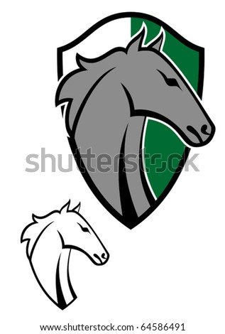 Horse cartoon tattoos symbol for design isolated on white. Jpeg version also available in gallery