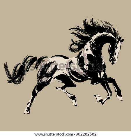 horse chinese style painting