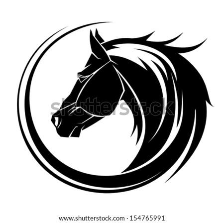 Horse circle tribal tattoo art.