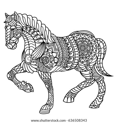 The black and white horse print with ethnic zentangle patterns ...