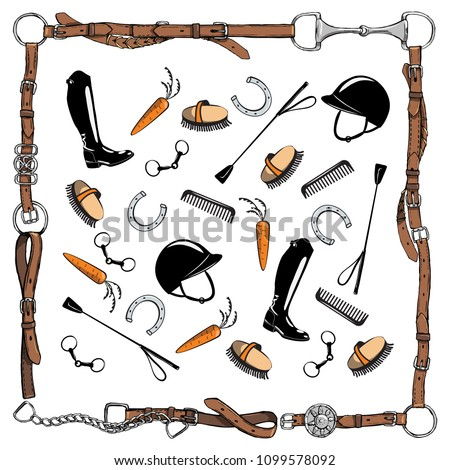 Horse equestrian riding tack tool in leather belt bridle frame on white. Vector bit, whip, brush, horse shoe, riding boot, snaffle. Equine cartoon hand drawing background.