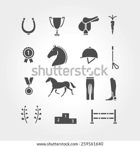 Horse equipment icon set fill