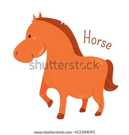 Shutterstock Horse. Equus ferus caballus. Odd-toed ungulate mammal belonging to the taxonomic family Equidae .Part of series of cartoon home animal species. Domestic pets. Sticker for kids. Child fun icon. Vector