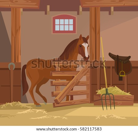 Horse farm. Vector flat cartoon illustration
