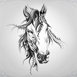 Horse head in floral ornament