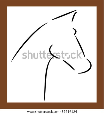 Horse head shape outline - vector illustration