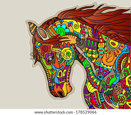 Color Year of The Horse Horse Head Symbol of New Year